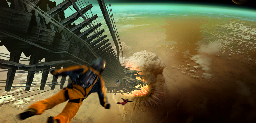 Набросок к фильму «Звёздный путь», художник Джеймс Клайн — атака на буровую платформу