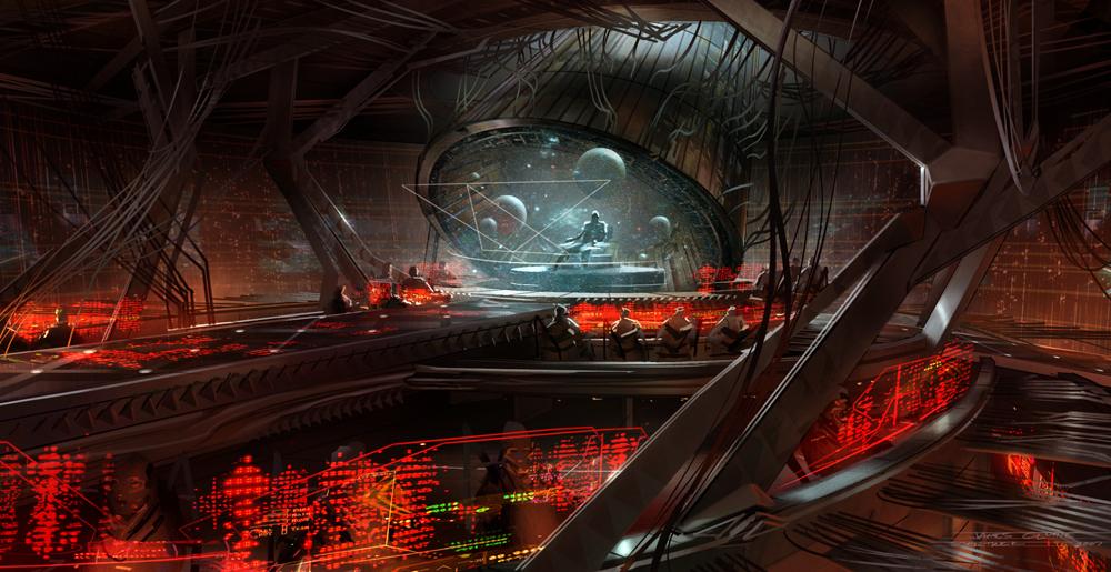 Набросок к фильму «Звёздный путь», художник Джеймс Клайн — мостик «Нарады»