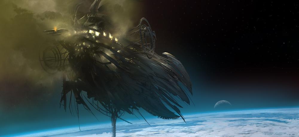Набросок к фильму «Звёздный путь», художник Джеймс Клайн — «Нарада» у Земли