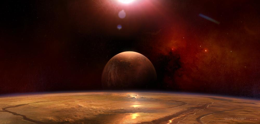 Набросок к фильму «Звёздный путь», художник Джеймс Клайн — космос