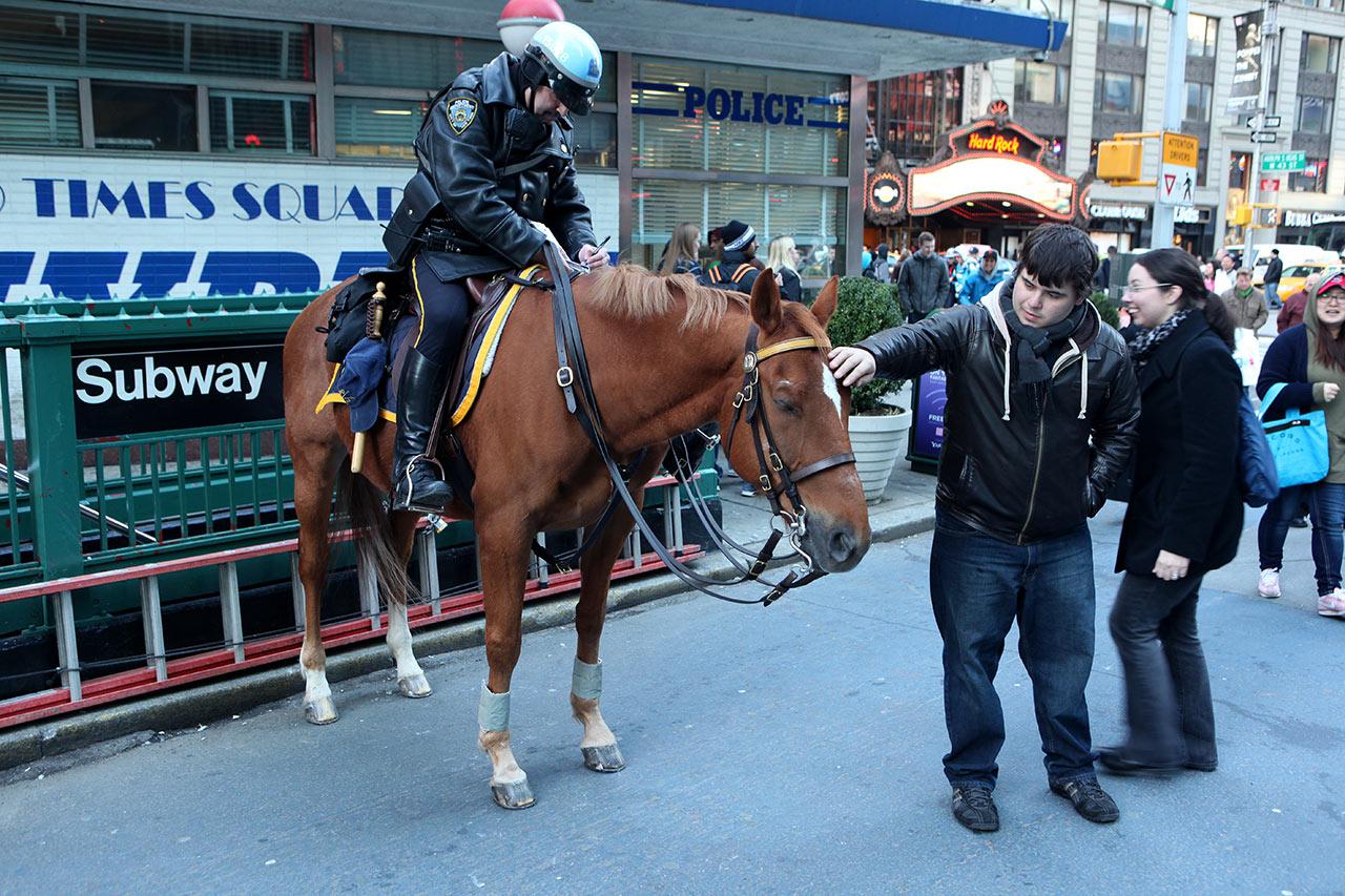 Конный полицейский и граждане