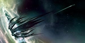 Набросок к фильму «Звёздный путь», художник Джеймс Клайн — «Нарада» Нерона в чёрной дыре